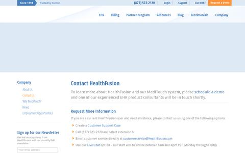 Screenshot of Contact Page healthfusion.com - Contact HealthFusion | Leaders in healthcare software and EHR - captured July 19, 2014