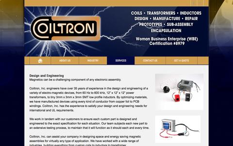 Screenshot of Services Page coiltron.com - Design and Engineering | Custom Coils, Transformers, Solenoids, Inductors - captured Jan. 29, 2016