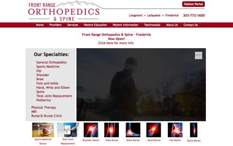 Screenshot of Home Page frontrangeorthopedics.com - Front Range Orthopedics & Spine - Orthopedic Doctors - Total Joint Replacement - captured Oct. 6, 2014