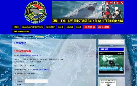 Screenshot of Contact Page sharklady.co.za - Contact Us - captured Oct. 7, 2014