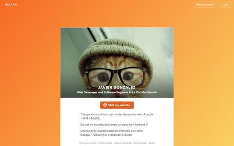 Screenshot of About Page about.me - Javier González - La Coruña, España, ingeniero técnico en informática de gestión   about.me - captured Sept. 23, 2016