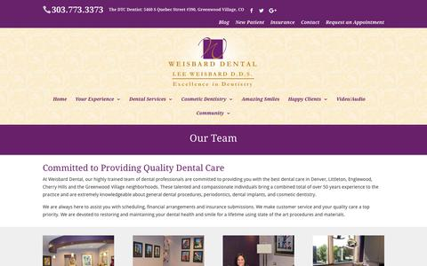 Screenshot of Team Page weisbarddental.com - Denver Cosmetic Dentistry - Weisbard Dental - captured Dec. 14, 2018