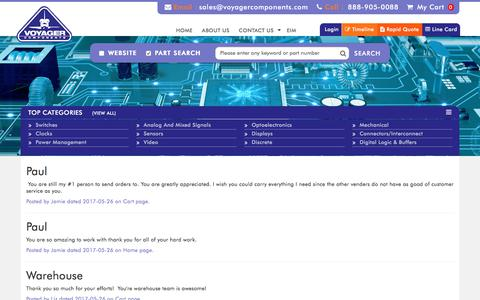 Screenshot of Testimonials Page voyagercomponents.com - | Voyager Components - captured Oct. 22, 2017
