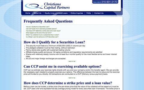 Screenshot of FAQ Page christianalending.com - Stock Lending | Margin Lending | Securities Loan: Christiana Lending - captured Oct. 1, 2014