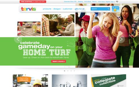Screenshot of Home Page tervis.com - Tervis Insulated Drinkware - Official Store - captured Sept. 19, 2014