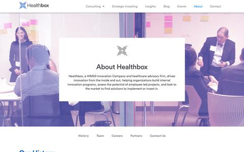 Screenshot of About Page healthbox.com - About Us | Healthbox an HIMSS Innovations Company - captured Nov. 7, 2019