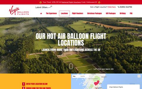 Screenshot of Locations Page virginballoonflights.co.uk - Virgin Balloon Flights says… - captured Oct. 29, 2017