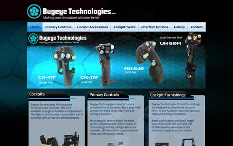 Screenshot of Home Page bugeyetech.com - Bugeye Technologies Flight Controls F-16,F-18,F-22,F-35, A-10, UH-60, CH-46, AH-64, cockpits - captured Oct. 11, 2017