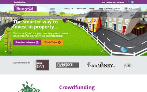 Screenshot of Home Page thehousecrowd.com - Crowdfunding | Property Investment | Company | The House Crowd - captured Oct. 7, 2014