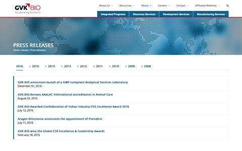 Screenshot of Press Page gvkbio.com - Press Releases - GVK BIO - captured June 24, 2017