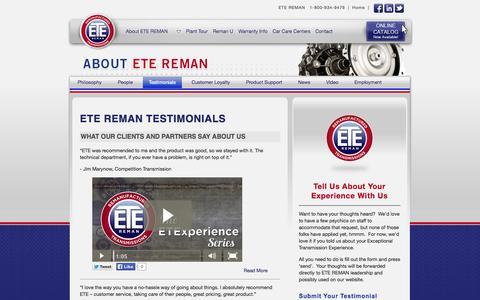 Screenshot of Testimonials Page etereman.com - ETE REMAN : Testimonials - captured Sept. 26, 2014