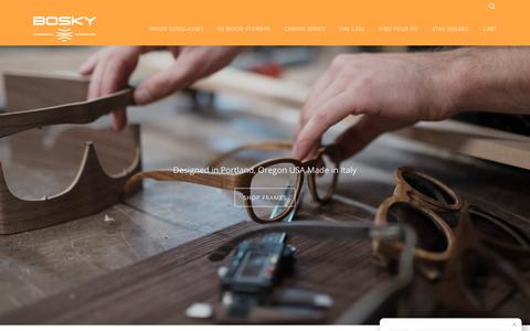 Screenshot of Home Page boskyoptics.com - Wood Sunglasses & Prescription Wood Eyewear – Bosky Optics - captured Oct. 10, 2017