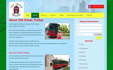 Screenshot of About Page oldurbantrolley.com - Trolley Company | Old Urban Trolley | Tulsa, OK - captured Jan. 26, 2017