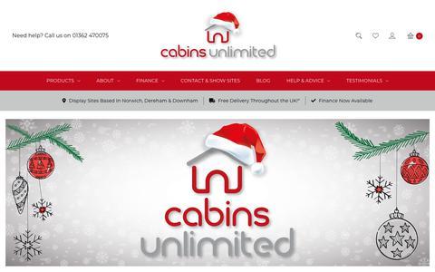 Screenshot of Home Page cabinsunlimited.co.uk - Large Range Of Log Cabins Sheds & Summerhouses | Cabins Unlimited - captured Dec. 7, 2018