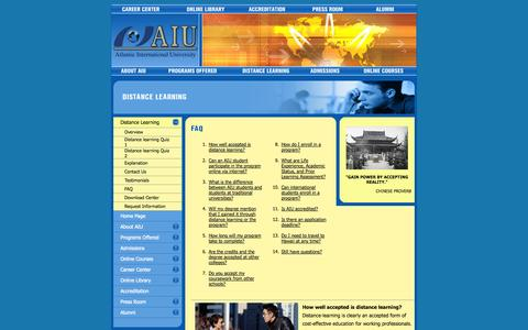 Screenshot of FAQ Page aiu.edu - Frequently asked Questions. Atlantic International University: bachelor, master, doctoral degree programs by distance learning, online, correspondence, or home study. An affordable, nontraditional, online university for adult and continuing education - captured Sept. 18, 2014