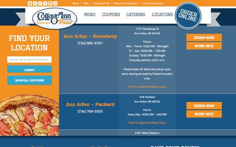 Screenshot of Locations Page cottageinn.com - Locations Archive - Cottage Inn Pizza - captured Sept. 19, 2014