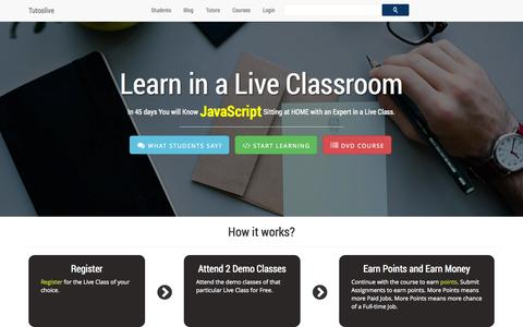 Screenshot of Home Page tutoslive.com - Tutoslive: Learn HTML CSS PHP MySql from expert Live n Online - captured Sept. 30, 2014