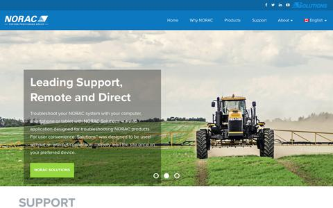 Screenshot of Support Page norac.ca - Support - NORAC Systems - Topcon Agriculture - captured Oct. 23, 2017