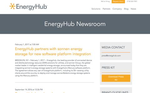 Screenshot of Press Page energyhub.com - EnergyHub Newsroom - captured Feb. 20, 2017