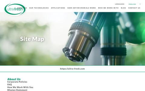 Screenshot of Site Map Page ultra-fresh.com - Ultra-Fresh Sitemap | Antimicrobial Additives and Solutions - captured Oct. 21, 2018