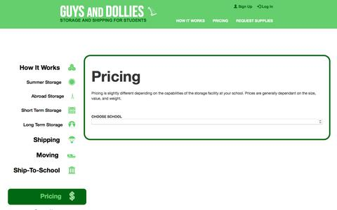 Screenshot of Pricing Page guysanddollies.com - Pricing - Storage And Shipping For Students - Guys and Dollies - captured Sept. 20, 2017