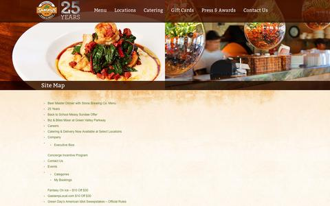 Screenshot of Site Map Page sammyspizza.com - Site Map - Sammy's Woodfired Pizza and GrillSammy's Woodfired Pizza and Grill ‹ Healthy Global Cuisine™ - captured Sept. 25, 2014