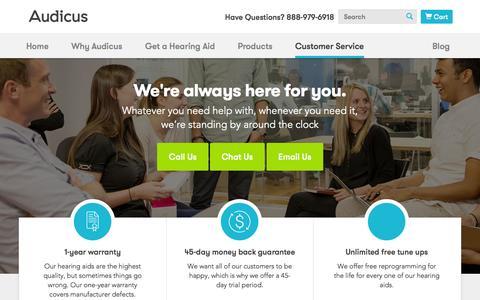 Screenshot of FAQ Page audicus.com - Customer Service  | Audicus - captured Oct. 28, 2014