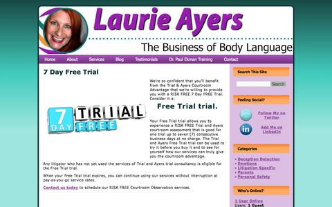 Screenshot of Trial Page laurieayers.com - Risk Free - 7 Day Free Trial  | Laurie Ayers - captured Oct. 4, 2014