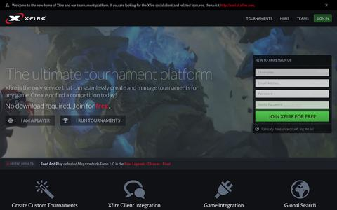 Screenshot of Home Page xfire.com - Xfire - The Ultimate Tournament Platform - captured Sept. 11, 2014