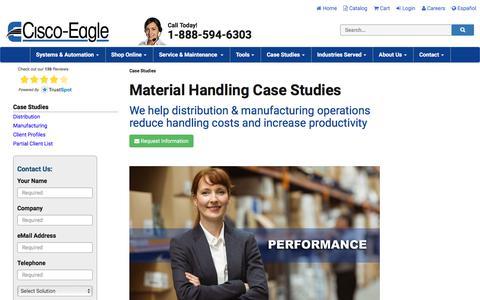 Screenshot of Case Studies Page cisco-eagle.com - Case Studies | Material Handling | Conveyor System Projects | Cisco-Eagle - captured June 27, 2019