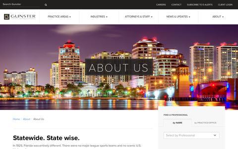 Screenshot of About Page gunster.com - Gunster, Florida's law firm for business - captured May 25, 2017