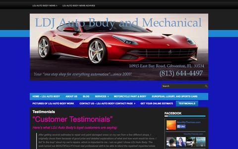 Screenshot of Testimonials Page ldjautobody.com - Testimonials | LDJ Auto Body & Mechanical - captured Oct. 1, 2014