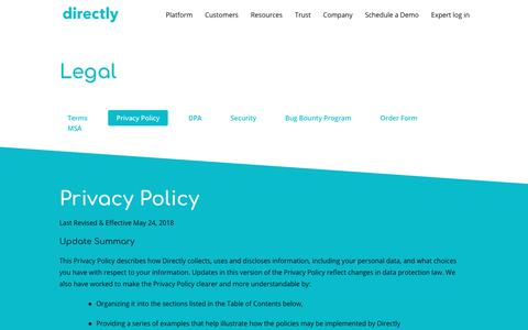 Screenshot of Privacy Page directly.com - Privacy Policy | Directly - captured Jan. 11, 2019
