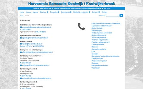 Screenshot of Contact Page hervormdkootwijkerbroek.nl - Contact -  Hervormde Gemeente Kootwijk / Kootwijkerbroek - captured Oct. 2, 2014