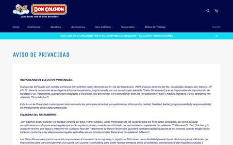 Aviso de Privacidad – Don Colchon