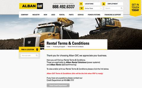 Screenshot of Terms Page albancat.com - Rental Terms & Conditions - Alban Cat - captured Sept. 30, 2014