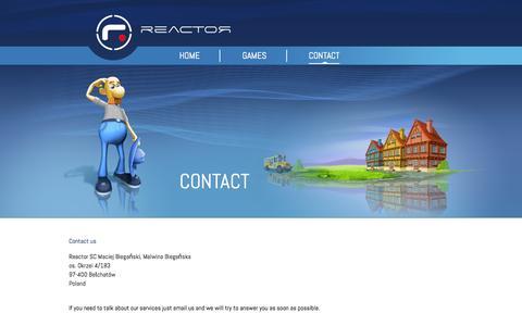 Screenshot of Contact Page reactor-games.com - Contact - captured Oct. 7, 2014