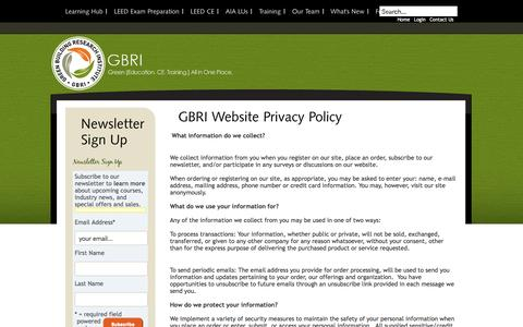 Screenshot of Privacy Page gbrionline.org - GBRI Website Privacy Policy | GBRI - captured Jan. 20, 2016