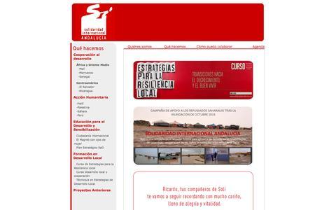 Screenshot of Home Page solidaridadandalucia.org - Solidaridad Internacional Andalucía - captured March 12, 2016