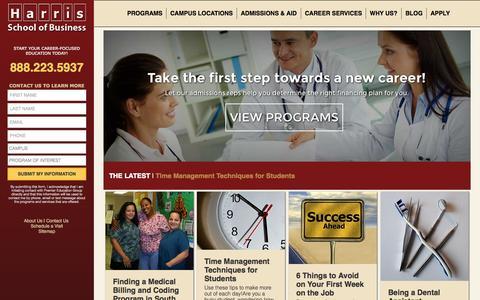 Screenshot of Home Page harrisschool.edu - Harris School of Business | Career Training School - captured Sept. 20, 2015