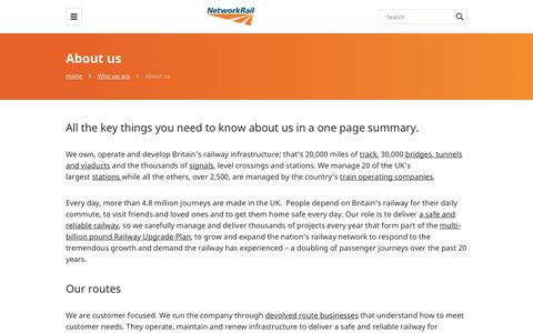 Screenshot of About Page networkrail.co.uk - About us - Network Rail - captured June 22, 2019