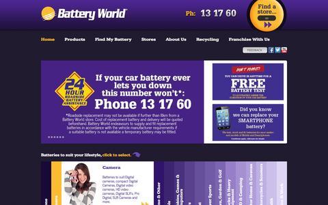 Screenshot of Home Page batteryworld.com.au - Battery World - captured Sept. 19, 2014