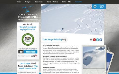 Screenshot of FAQ Page coastrangeheliskiing.com - Faq's - Coast Range Heliskiing - captured Sept. 30, 2014