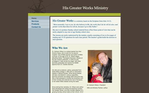 Screenshot of Home Page hisgreaterworks.com - His Greater Works Ministry - Home - captured Sept. 30, 2014