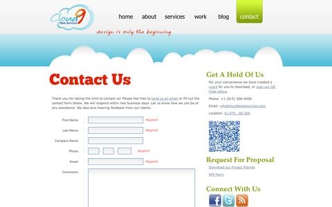 Screenshot of Contact Page cloud9webservices.com - Contact Us | Cloud 9 Web Services - captured Sept. 30, 2014