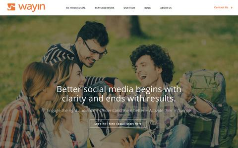 Screenshot of Home Page wayin.com - Wayin | Social Media Marketing Solutions - captured Sept. 10, 2014
