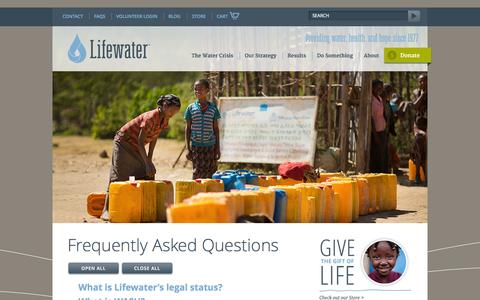Screenshot of FAQ Page lifewater.org - Frequently Asked Questions - Lifewater International | A Non-Profit Christian Water Development Organization - Lifewater International | A Non-Profit Christian Water Development Organization - captured Oct. 3, 2014