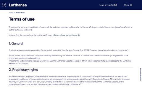 Screenshot of Terms Page lufthansa.com - Terms of use for Lufthansa websites - captured Nov. 12, 2018