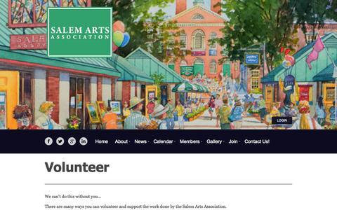 Screenshot of Support Page salemartsassociation.org - Salem Arts Association - Volunteer - captured Sept. 30, 2014