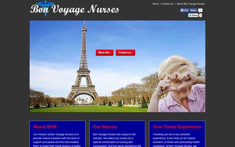 Screenshot of Home Page bonvoyagenurses.com - Bon Voyage Nurses   Nurses helping Seniors travel - captured Sept. 30, 2014